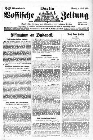 Vossische Zeitung vom 04.04.1921