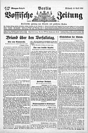 Vossische Zeitung vom 13.04.1921