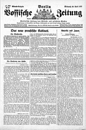 Vossische Zeitung vom 20.04.1921