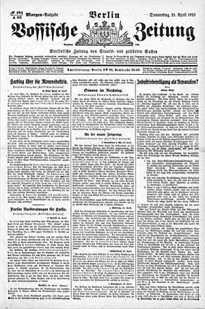 Vossische Zeitung vom 21.04.1921