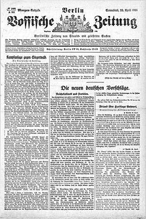 Vossische Zeitung vom 23.04.1921