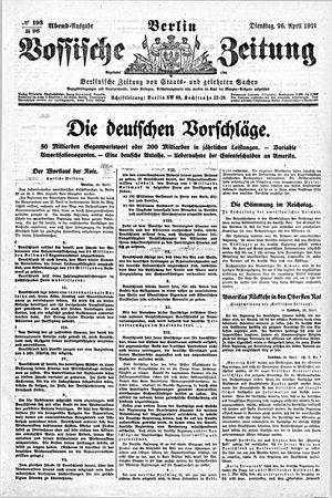 Vossische Zeitung vom 26.04.1921