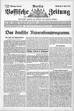 Vossische Zeitung vom 27.04.1921