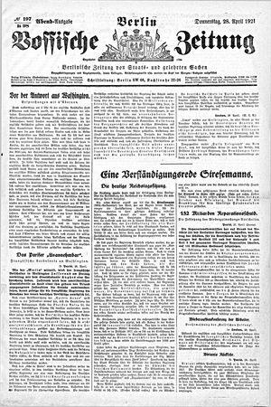 Vossische Zeitung vom 28.04.1921
