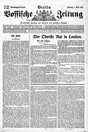 Vossische Zeitung vom 01.05.1921