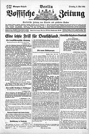 Vossische Zeitung vom 03.05.1921