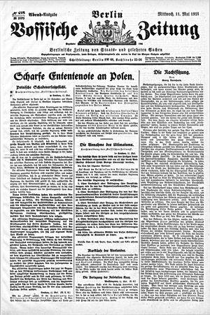 Vossische Zeitung vom 11.05.1921