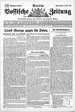 Vossische Zeitung on May 14, 1921