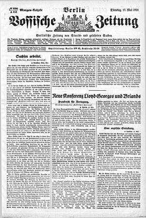 Vossische Zeitung vom 17.05.1921
