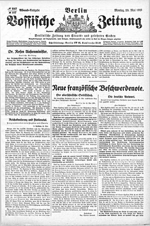 Vossische Zeitung vom 23.05.1921