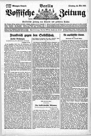Vossische Zeitung on May 24, 1921
