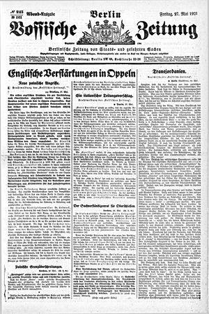 Vossische Zeitung on May 27, 1921