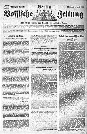 Vossische Zeitung vom 01.06.1921