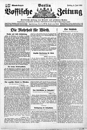 Vossische Zeitung vom 03.06.1921