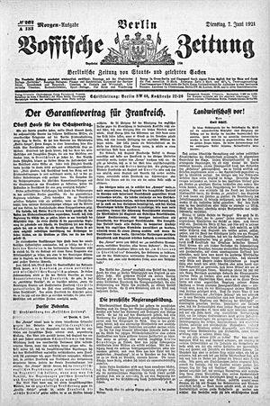 Vossische Zeitung vom 07.06.1921