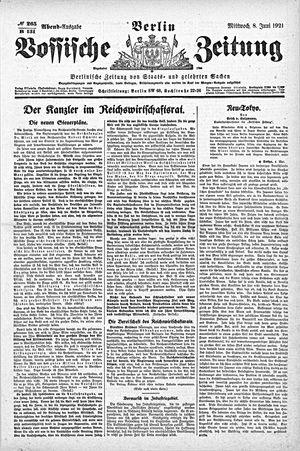 Vossische Zeitung vom 08.06.1921