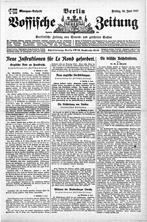 Vossische Zeitung vom 10.06.1921