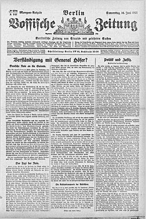 Vossische Zeitung vom 16.06.1921