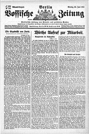 Vossische Zeitung vom 20.06.1921