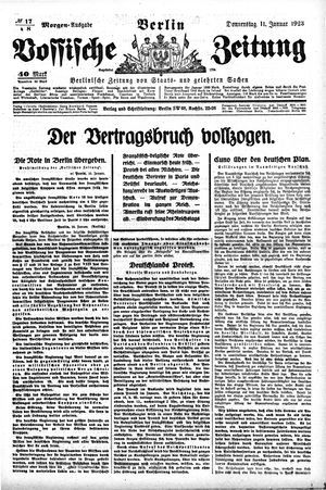 Vossische Zeitung vom 11.01.1923