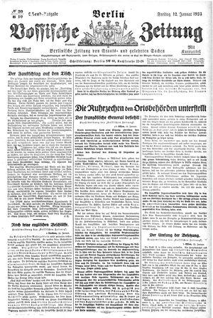 Vossische Zeitung on Jan 12, 1923
