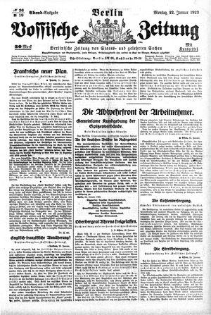 Vossische Zeitung on Jan 22, 1923