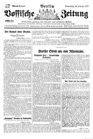 Vossische Zeitung vom 22.02.1923