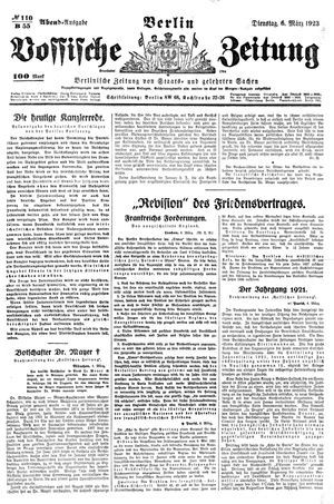 Vossische Zeitung vom 06.03.1923