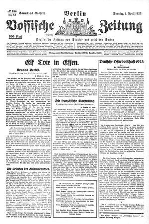 Vossische Zeitung vom 01.04.1923