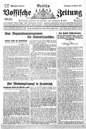 Vossische Zeitung vom 10.04.1923