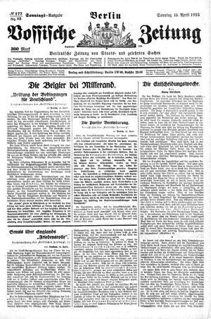 Vossische Zeitung on Apr 15, 1923