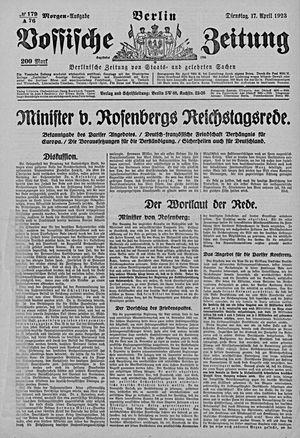 Vossische Zeitung vom 17.04.1923