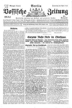 Vossische Zeitung vom 21.04.1923