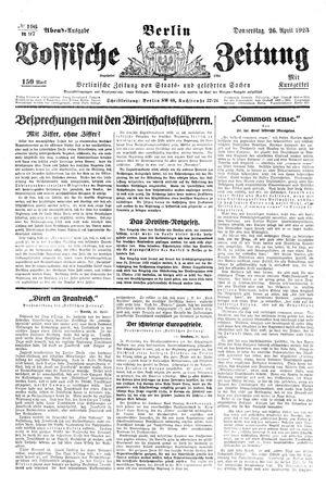 Vossische Zeitung vom 26.04.1923