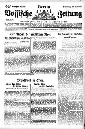 Vossische Zeitung vom 10.05.1923