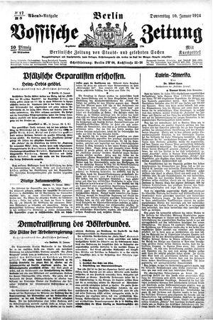 Vossische Zeitung vom 10.01.1924