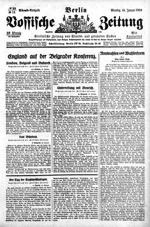 Vossische Zeitung on Jan 14, 1924