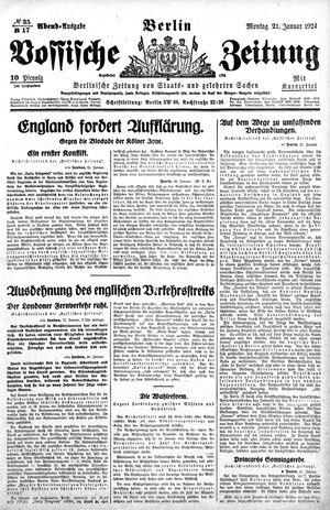 Vossische Zeitung vom 21.01.1924