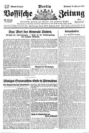 Vossische Zeitung vom 13.02.1924
