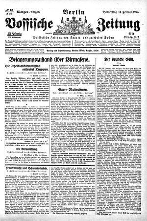 Vossische Zeitung vom 14.02.1924