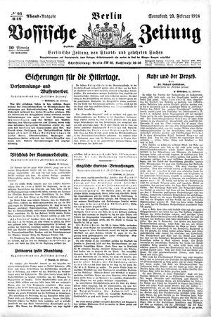 Vossische Zeitung vom 23.02.1924
