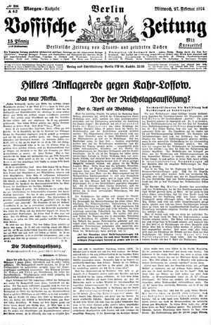 Vossische Zeitung vom 27.02.1924