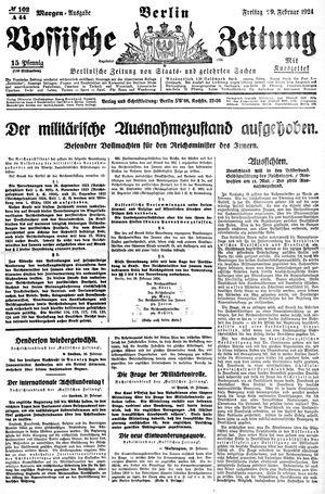 Vossische Zeitung vom 29.02.1924