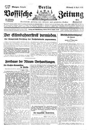 Vossische Zeitung vom 09.04.1924