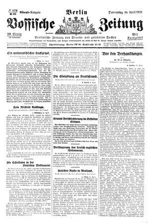 Vossische Zeitung vom 10.04.1924