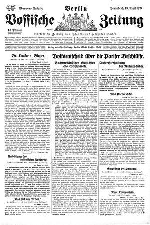 Vossische Zeitung on Apr 19, 1924