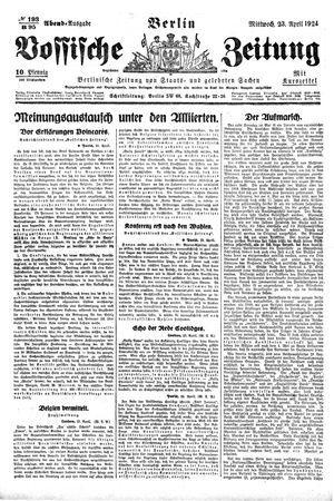 Vossische Zeitung vom 23.04.1924