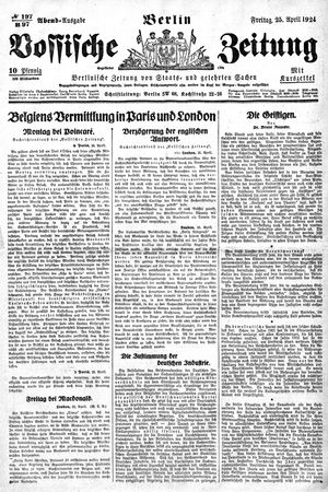 Vossische Zeitung vom 25.04.1924