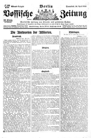 Vossische Zeitung vom 26.04.1924