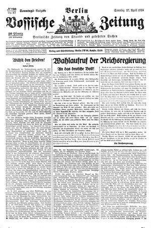 Vossische Zeitung vom 27.04.1924